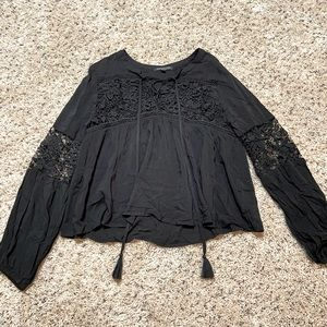 Black Lace Peasant Tunic Blouse Top Tassels